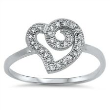 Curvy Heart CZ Ring, 925 Sterling Silver, Love, Promise, Eternity Gift, Classic