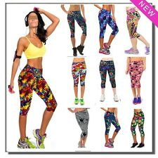 NewSoft Capri Leggings High Waist Floral Printing Yoga Pants Lady's Workout Wear