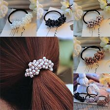 Lady's Fashion Pearl Headband Elastic Rope Ponytail Holder Jewelry