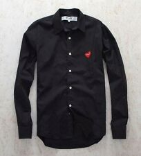 NEW 4 Sizes BLACK 2016 COMME DES GARCONS CDG PLAY RED HEART LONG SLEEVE SHIRT