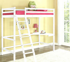 Kids High Sleeper Cabin Bed with Desk White Wooden Bunk Bed Single 3FT Mattress