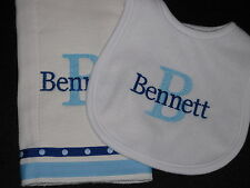 NEW Personalized Burp Cloth Terry Bib Set Monogrammed Baby Shower Gift