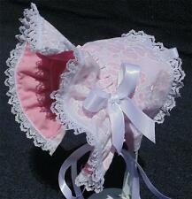 New Handmade White Floral Embroidery with Pink Lining Baby Bonnet