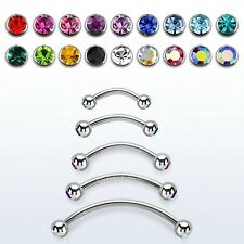 "1pc.16g~1/4""-1/2"" 316L Double Gems Curved Eyebrow Barbell Tragus Helix Cartilage"