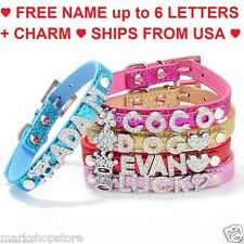Dog Cat Pet Collar PU Leather Free DIY Personalized Name 10mm Rhinestone Charms