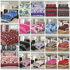 4 Piece Complete Bedding Set Duvet Cover Valance / Fitted Sheet & 2 Pillowcases