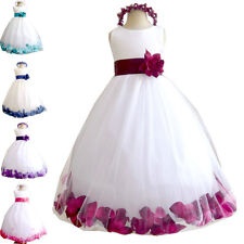 Hot Flower Girls Kid Solid Long Full Wedding Party Bridesmaids Prom Long Dress