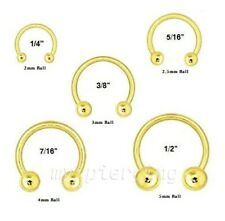 "2pcs 16g,14g~1/4""- 1/2"" Gold Plated Horseshoe Circular Ears Tragus Septum Labret"
