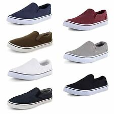 Mens Canvas Pumps Plimsoles Espadrilles Boys Slip On Deck Shoes Trainers Size