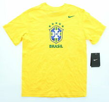 New Boy's Nike Brasil National Team Soccer T-Shirt FIFA Tee S M L XL Yellow