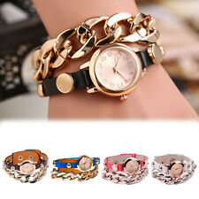 Best Lady PU+alloy Golden Hollow Chain Bracelet Round Dial Analog Wrist Watch