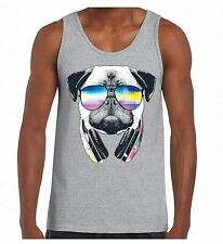 Pug Sunglasses Headphones Men's Tank Top Dog Animal Head Tee Music Party TankTOP