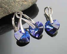 Crystal Heart 10 mm 925 SILVER Earrings Pendant SET made with SWAROVSKI ELEMENTS