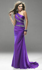 Purple beaded long bridesmaid prom Formal Evening Cocktail Party Ball Gown dress