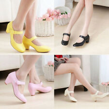 Round Toe Pumps Women's Lolita Mary Jane Velcro Shoes Cute Colors Dress Plus Sz