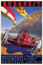 Art Deco Poster 1936 Hungarian Grand Prix Budapest 1930s Vintage Motor Racing