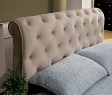 Upholstered Headboard Slightly Scrolled 40s-Era Tufted Design in Beige