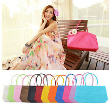 Fashion Straw Summer Weave Woven Shoulder Tote Shopping Beach Bag Purse Handbag