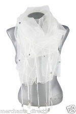 Womens Fashion Sheer Mesh Beaded Lightweight Fashion Belt, Scarf, Scarves
