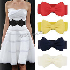Lovely Women Bowknot Elastic Bow Wide Stretch Buckle Waistband Waist Belt tgs