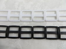 (15-100), 1'' (25mm) Wide Mouth Triglides Webbing Slides -BK or WH, Heavy Duty