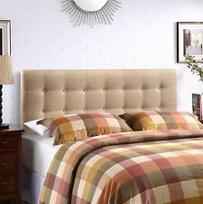 Upholstered Headboard Elegant Window Pane Button Tufted Design in Beige