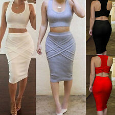 Sexy Women Sleeveless Bandage Bodycon Pencil Evening Cocktail Club Dress 2 Piece
