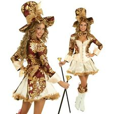 Womens Deluxe Mad Hatter Costume Alice In Wonderland Halloween Party Outfit