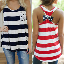 Fashion Women Summer Stripes Vest Top Sleeveless Blouse Casual Tank Tops T-Shirt