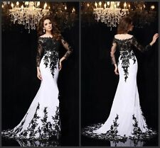 2015 New Black Lace Long-sleeve Prom Evening Party Pageant dress Wedding dresses