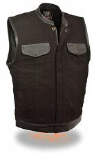 Men's SOA Black Denim Vest w/ Leather Trim - Zipper & Snap Front Closure MDM3010