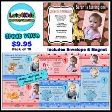 FIRST BIRTHDAY PERSONALISED BIRTHDAY PARTY INVITATIONS - PACKS OF 10 OR 15