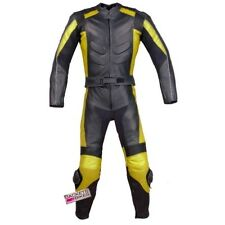 New Men's 2PC Motorcycle Leather Racing Armor Suit 2 PC Two Piece Yellow US