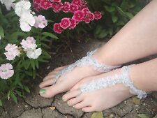 PRICE DROP SALE - Lace and Silver Sparkles Barefoot Thong Sandals