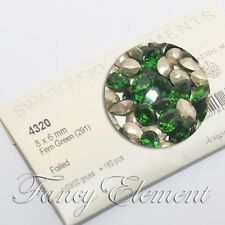 Swarovski 4320 Pear Fern Green 8x6mm Crystal Metal Plate Sew On Rhinestone Beads