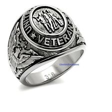 US Veterans Military Ring 316L Stainless Steel Antuque Silver Signet Style