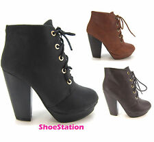 Womens Fashion Shoes Booties Lace Up Pumps Almond Toe Ankle Heels Boots Comfort