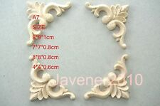 4*4*0.6 7*7*0.8 9*9*1cm Wood Carved Corner Onlay Applique Furniture Unpainted A7