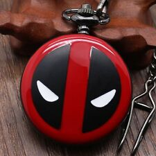 Fashion Deadpool Anime Black&Red Quartz Pocket Watch Men Women 30/80cm Chain