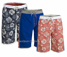 Mens Funky Hawaiian Floral & Plain Mix Board Bermuda Swimshorts 3 Colours S-XXL