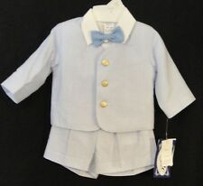 Lito 819IB  4-Pc Blue,White Stripe Seersucker Eton Suit Inf Boys 12/18,18/2 4 M.