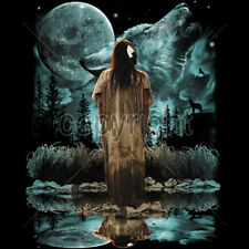 Native American Indian Girl And Wolf Moon Spirit T-Shirt Tee