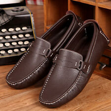 Mens Casual Genuine Leather Flats Slip On Loafer Driving Shoes Moccasins