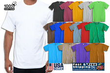 Short Sleeve Casual Basic Crew Neck Plain 100% Cotton T-Shirts NEW Blank Solid