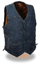 Men's 8 Pocket Blue Denim Side Lace Biker Vest w/ Snap Front Design Motorcycle