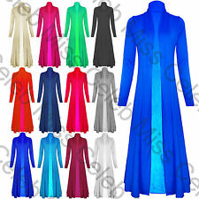Womens Long Sleeve Floaty Open Front Maxi Ladies Casual Jacket Cardigan Coat Top
