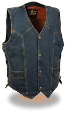 Men's Blue Denim Side Lace Biker Vest w/ Classic Snap Front Design - Gun Pocket