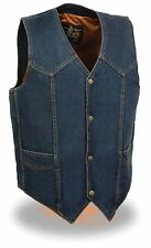 Men's Blue Denim Plain Side Biker Vest w/ Classic Snap Front Design Motorcycle