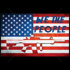 American Flag We The People AR-15 Rifle USA Patriotic 2nd Amendment T-Shirt Tee