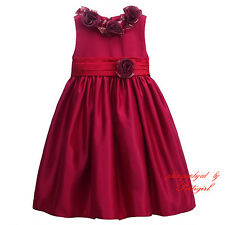 Baby Girls Princess Dress Kids Red Floral Ruched Party Wedding Pageant Dresses